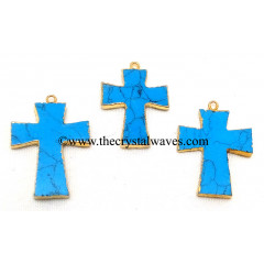 Turquoise With Matrix Cross Gold Electroplate Pendant