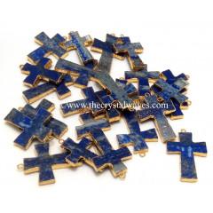 Lapis Lazuli Cross Gold Electroplate Pendant