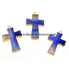 Purple Banded Agate Chalcedony Cross Gold Electroplate Pendant