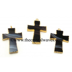 Black Banded Agate Chalcedony Cross Gold Electroplate Pendant