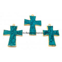 Tibetan Turquoise Manmade Cross Gold Electroplate Pendant