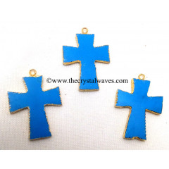 Turquoise Manmade Cross Gold Electroplate Pendant