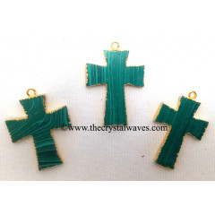 Malachite Manmade Cross Gold Electroplate Pendant