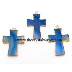 Persian Blue Banded Agate Chalcedony Cross Gold Electroplate Pendant