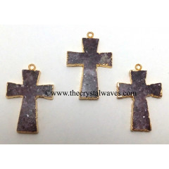 Lepidolite Cross Gold Electroplate Pendant