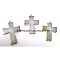 Snow Quartz Cross Gold Electroplate Pendant