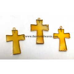 Yellow Chalcedony Cross Gold Electroplate Pendant