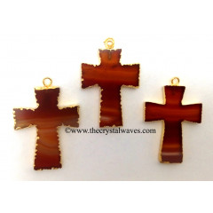 Red Banded Agate Chalcedony Cross Gold Electroplate Pendant