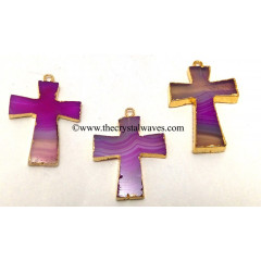 Pink Banded Agate Chalcedony Cross Gold Electroplate Pendant
