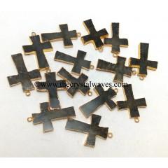 Labradorite Cross Gold Electroplate Pendant