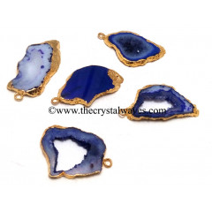 Purple Banded Agate Chalcedony Geode Freeform Small Gold Electroplated Pendant
