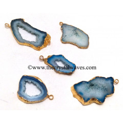 Persian Blue Banded Agate Chalcedony Geode Freeform Small Gold Electroplated Pendant