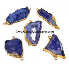 Purple Banded Agate Chalcedony Geode Freeform Small Gold Electroplated Connector / Pendant