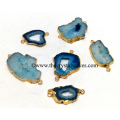 Persian Blue Banded Agate Chalcedony Geode Freeform Small Gold Electroplated Connector / Pendant