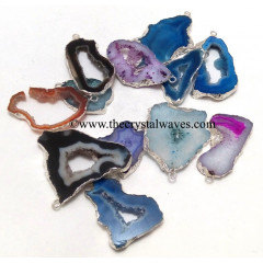 Mix Assorted Banded Agate Chalcedony Geode Freeform Small Silver Electroplated Pendant