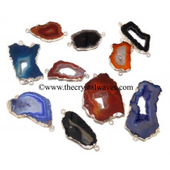Mix Assorted Banded Agate Chalcedony Geode Freeform Small Silver Electroplated Connector / Pendant