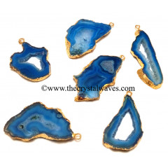 Blue Banded Agate Chalcedony Geode Freeform Small Gold Electroplated Pendant