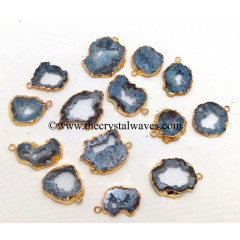Blue Agate Geode Gold Electroplated Pendant