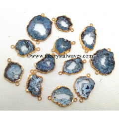 Blue Agate Geode Gold Electroplated Connector / Pendant