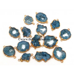 Persian Blue Agate Geode Gold Electroplated Connector / Pendant