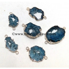 Persian Blue Agate Geode Silver Electroplated Connector / Pendant
