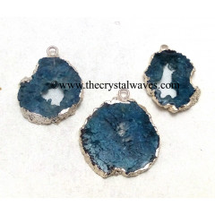 Persian Blue Agate Geode Silver Electroplated Pendant
