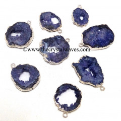 Purple Agate Geode Silver Electroplated Pendant