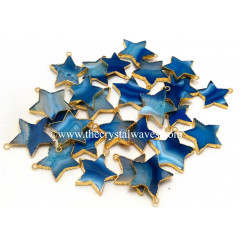 Persian Blue Banded Agate Chalcedony Gold Electroplated Star Pendant