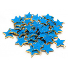 Turquoise With Matrix Manmade Gold Electroplated Star Pendant