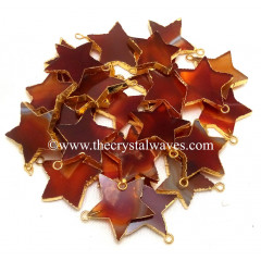 Red Banded Agate Chalcedony Gold Electroplated Star Pendant