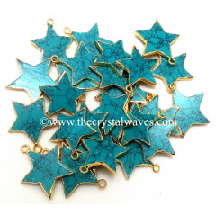 Tibetan Turquoise Manmade Gold Electroplated Star Pendant