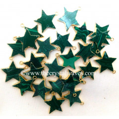 Malachite Manmade Gold Electroplated Star Pendant