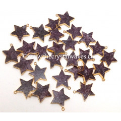 Lepidolite Gold Electroplated Star Pendant