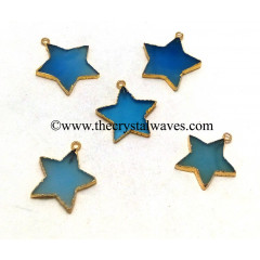 Blue Chalcedony / Onyx Gold Electroplated Star Pendant