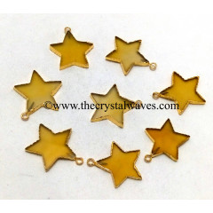 Yellow Chalcedony / Onyx Gold Electroplated Star Pendant
