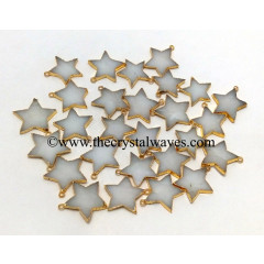 Snow Quartz Gold Electroplated Star Pendant