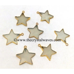 Aqua Chalcedony / Onyx Gold Electroplated Star Pendant