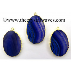 Purple Banded Agate Chalcedony Oval Shape Gold Electroplated Pendant