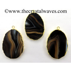 Black Banded Agate Chalcedony Oval Shape Gold Electroplated Pendant