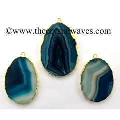 Persian Blue Banded Agate Chalcedony Oval Shape Gold Electroplated Pendant