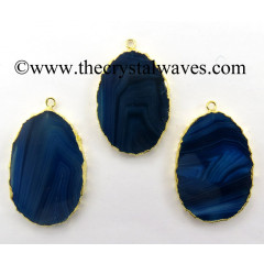 Blue Banded Agate Chalcedony Oval Shape Gold Electroplated Pendant