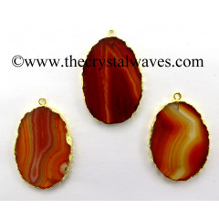 Red Banded Agate Chalcedony Oval Shape Gold Electroplated Pendant