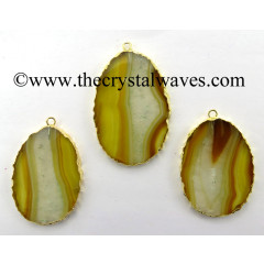 Yellow Banded Agate Chalcedony Oval Shape Gold Electroplated Pendant