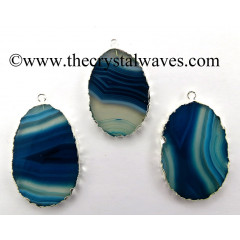 Persian Blue Banded Agate Chalcedony Oval Shape Silver Electroplated Pendant
