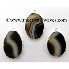 Black Banded Agate Chalcedony Oval Shape Silver Electroplated Pendant