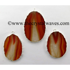Red Banded Agate Chalcedony Oval Shape Silver Electroplated Pendant