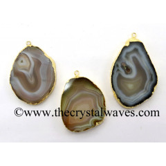 Natural Banded Agate Freeform Gold Electroplated Pendant