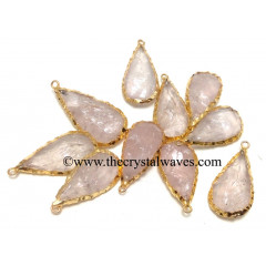 Rose Quartz Handknapped Long Pear Gold Electroplated Pendant