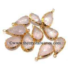Rose Quartz Handknapped Pear Gold Electroplated Pendant