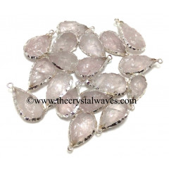 Rose Quartz Handknapped Long Pear Silver Electroplated Pendant